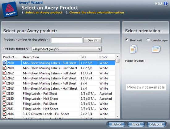 Avery Wizard for Microsoft Office printing software