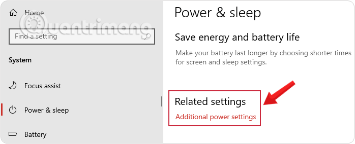 Chọn Additional Power Settings để mở Power Options Windows 10